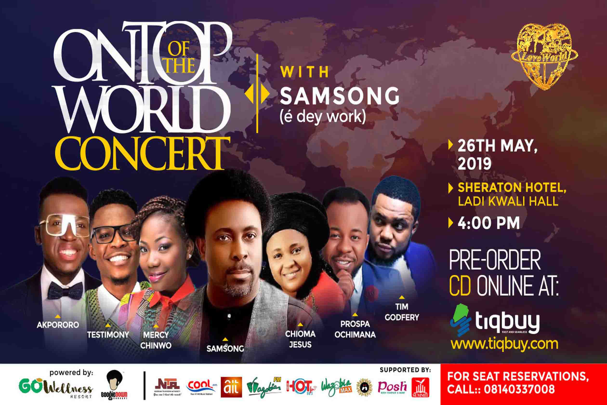 Gospel Music Big Shots Headed to Abuja for Samsong's OnTopofTheWorld Concert